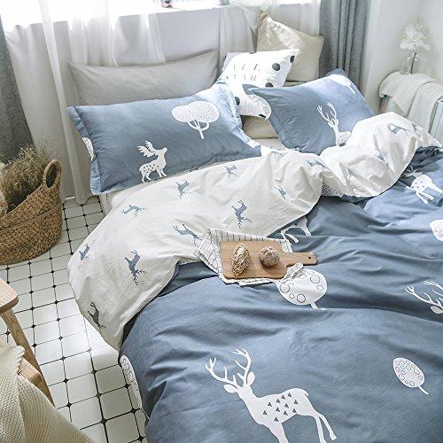 (mixinni 100% Soft Cotton Kids Twin Blue/White Duvet Cover Set, Deer Printed Pattern Printed for Girls Boys Kids Teens Zipper Closure (3pcs, Twin Size))