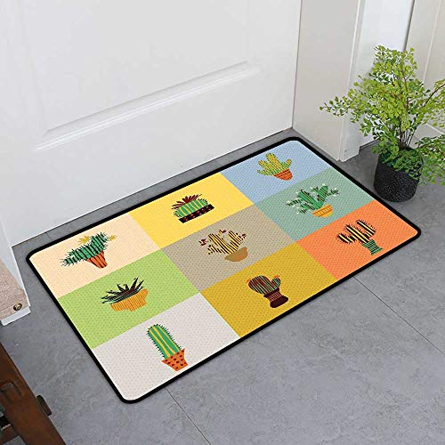 TableCovers&Home Boots Scraper Mat, Vintage Non-Slip Doormats for Office, Botanical Cactus Flowers in Vase Succulent Peyote Essence Tropical Polka Dots Motif (Multicolor, H24 x - Marketplace Vintage Vase