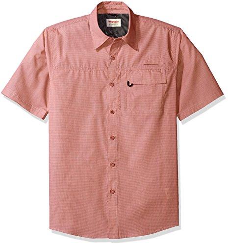 Wrangler Authentics Men's Big & Tall Short Sleeve Utility Shirt, Vintage Indigo Micro Check, XL, Vintage Indigo Micro Check, XL