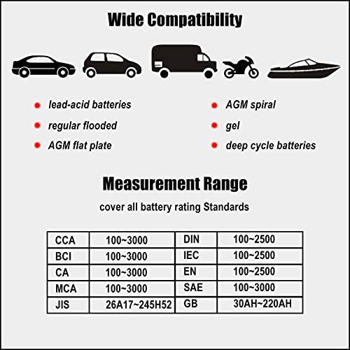 JUTA BTP500 12V//24V 100-3000 CCA Automotive Battery Load Tester Motorcycles and Boats Car Cranking and Charing System Digital Analyzer Scan Tool with Thermal Printer for Cars Heavy Duty Trucks