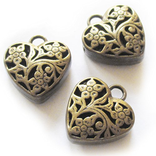 Heather's cf 6 Pieces Brass Tone Hollow Heart Beads DIY Charms Pendants 20X23X9mm - 9mm Heart Pendant