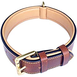 """Soft Touch Collars Padded Leather Dog Collar, Large Brown - Genuine Real Leather, 24"""" Long x 1.5 Wide, Fits Neck Size 18"""" to 21"""" Inches"""
