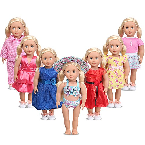 American Girl Doll Clothes for 18 Inch Dolls - LetsFunny 7 Outfit for My Life Doll, Our Generation, Journey Girl Dolls Accessories - Girls Toy