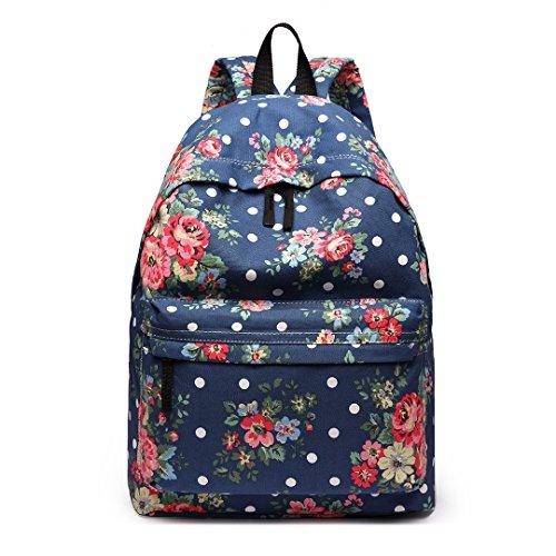 Miss Lulu, Retro-Rucksack in verschiedenen Motiven, zum Reisen oder Campen Floral Navy