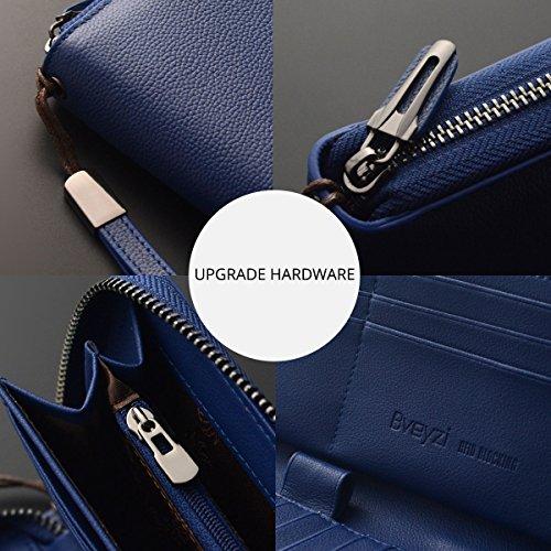 Women RFID Blocking Wallet Leather Zip Around Clutch Large Travel Purse Wrist Strap (Navy Bllue) by Bveyzi (Image #4)