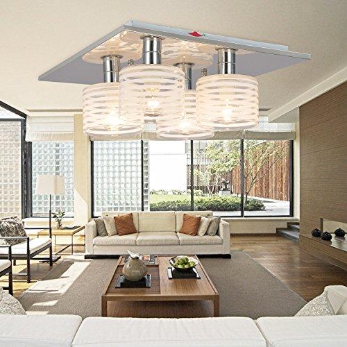 OOFAY LIGHT® Simple and elegant modern 4-head chandelier, Fashionable bedroom ceiling light, Modern glass ceiling light for living hall