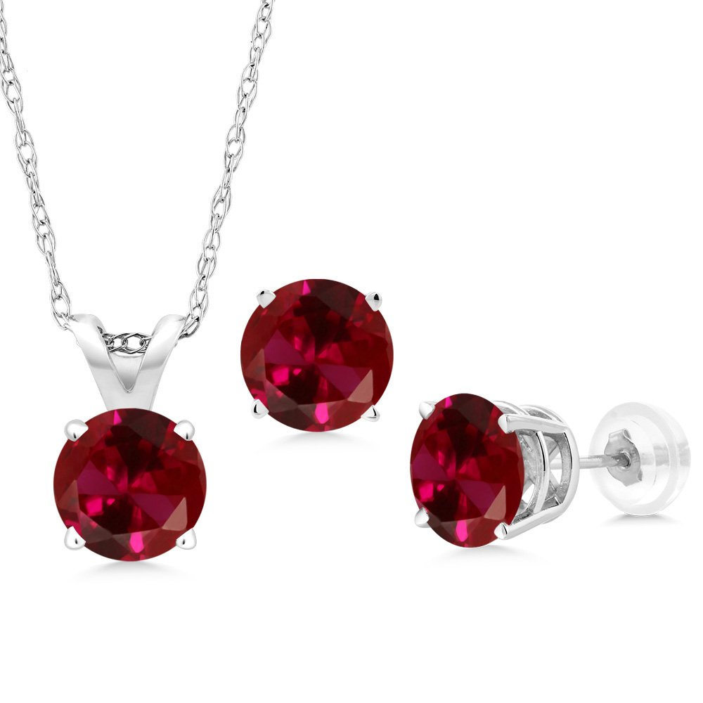 3.00 Ct Round Red Created Ruby 14K White Gold Pendant Earrings Set With Chain