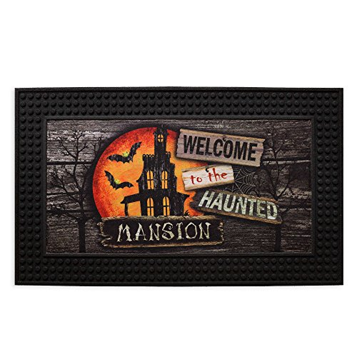 8.5-Inch x 30.5-Inch- Moonlit Mansion LED Halloween Door Mat Featuring Touch Activated Lights/ Scary Sounds, Skid-resistant Backing and 100% (Halloween Sound And Light Machine)