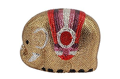 Yilongsheng Las mujeres bolsos de embrague con diamantes cinta de seda de colores brillantes oro