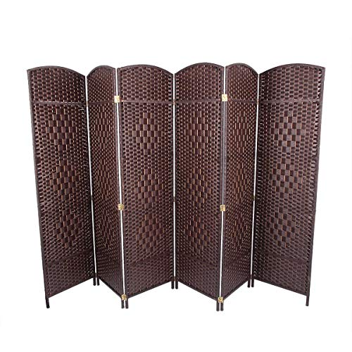 - U-MAX Room Divider,6 FT Tall Weave Fiber Room Divider,Double Hinged,6 Panel Room Divider & Folding Privacy Screens, Freestanding Brown Room Dividers
