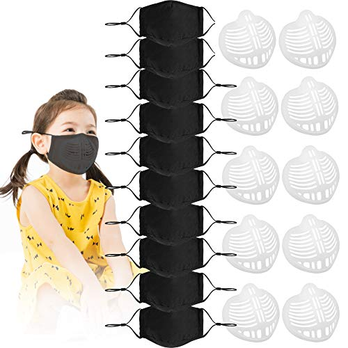 10 Pack Face Cotton Fabric Cloth Protect Kids Children Reusable Washable Safety for Dust Protection With 10 3D Silicone…