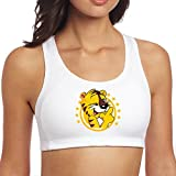 Kim Lennon Golden Laughing Cat Custom For Women's Sport Yoga Bra White