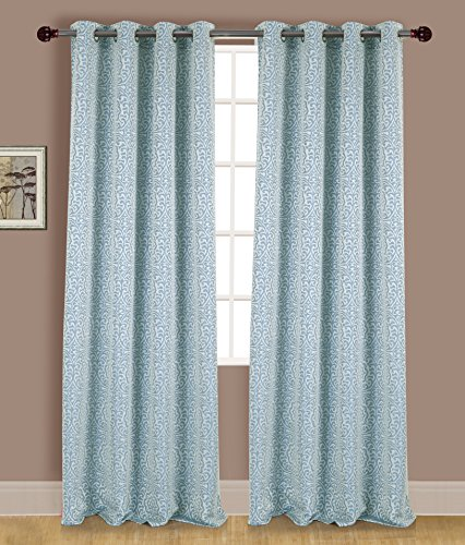 - RT Designers Collection Acadia Jacquard Grommet Curtain Window Panel, 54 x 90 inches, Blue