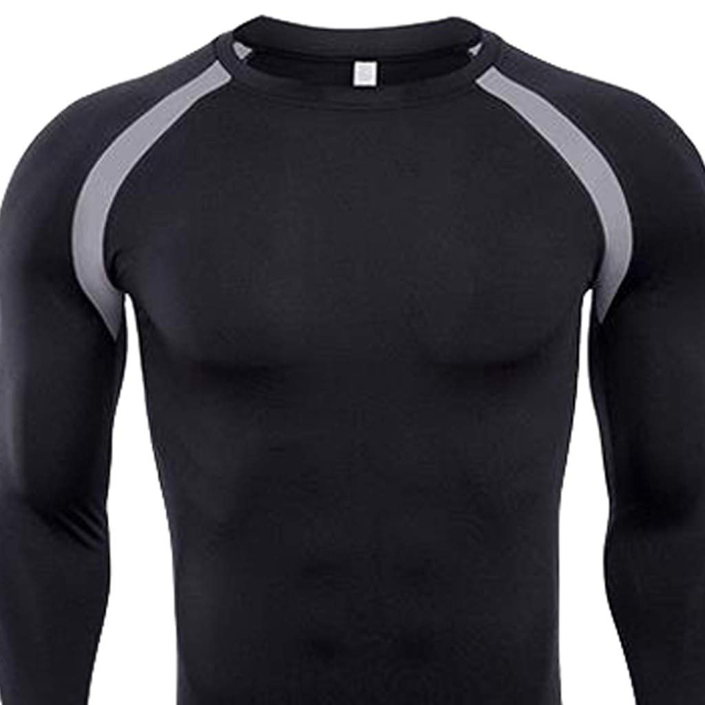 ce73a00fb Amazon.com: Hosamtel Men Long Sleeve Sport T-Shirt Cool Dry Patchwork  Compression Tight Athletic Shirt Fitness Workout Running Tops: Clothing
