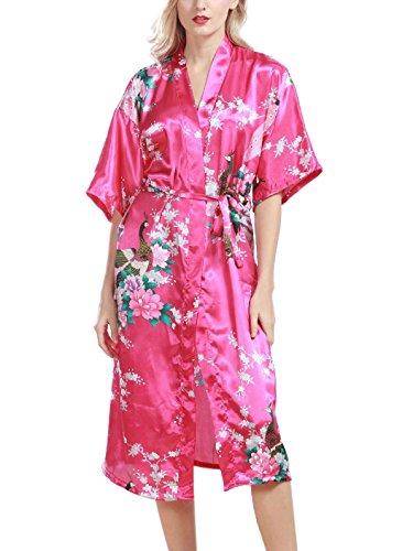 Feoya Mujer Pijama Bata Ropa de Dormir Kimono Largo Estampado Floral y Pavo Robe Sleepwear Magenta