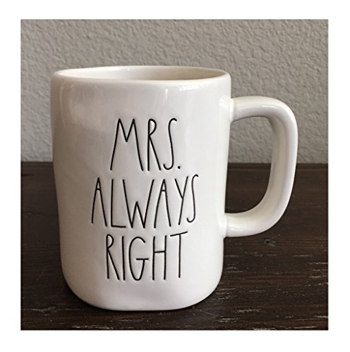 Rae Dunn Mrs. Always Right Coffee Mug Artisan Collection by Magenta (Wife Bride Girlfriend Mother's Day Wedding Anniversary Birthday Valentine's for Her Gift Present)