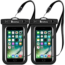 """Relohas Waterproof Case, 2-Pack Universal Waterproof Phone Cases, Dry Bag ,Pouch with 4 Neck Straps for IOS, Android or Windows Devices Up to 6.0"""" Smartphones"""