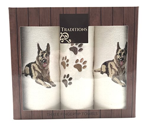 Holiday Christmas Cotton Tip Towels: Decorative Embroidered Dog Design, 3 Piece Gift Pack (German Shepard) Nantucket 3 Piece Set