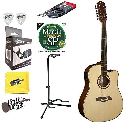 Oscar Schmidt OD312CE 12 String A/E Spruce Top Guitar w/Picks,Strings + More (12 Washburn String)
