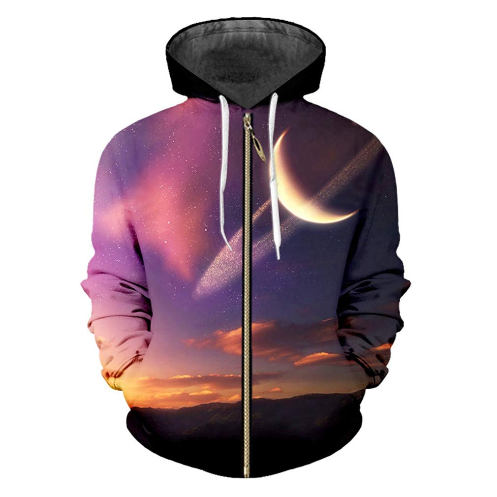 ONTBYB Mens Pattern Print Classic Full-Zip Casual Hooded Sweatshirt Jacket Outwear