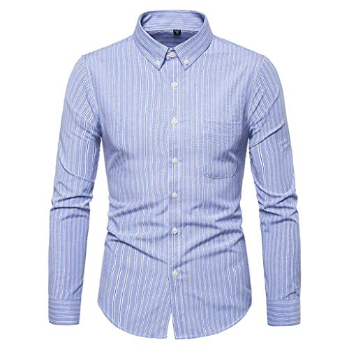JJLIKER Mens Striped Dress Shirts Slim Fit Long Sleeve Button Down Shirts Wrinkle Free Casual Pocket Shirts for Adult Blue
