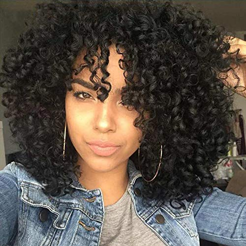 Peiyulex Hair Synthetic Short Curly Wigs for Women Girls Jet Black Color Full Wig Heat Resistant Fiber Afro Curly Replacement Wig 14inch (Black) -