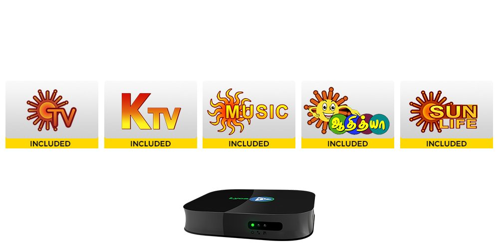 Lyca TV One Year Subscription with Set-top Box included (Tamil, Black)
