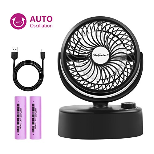 SkyGenius Battery Operated Mini Oscillating Table Fan, Portable Small Desk Swiveling Fan Rechargeable W/USB & 2PCS 18650 Batteries by SkyGenius