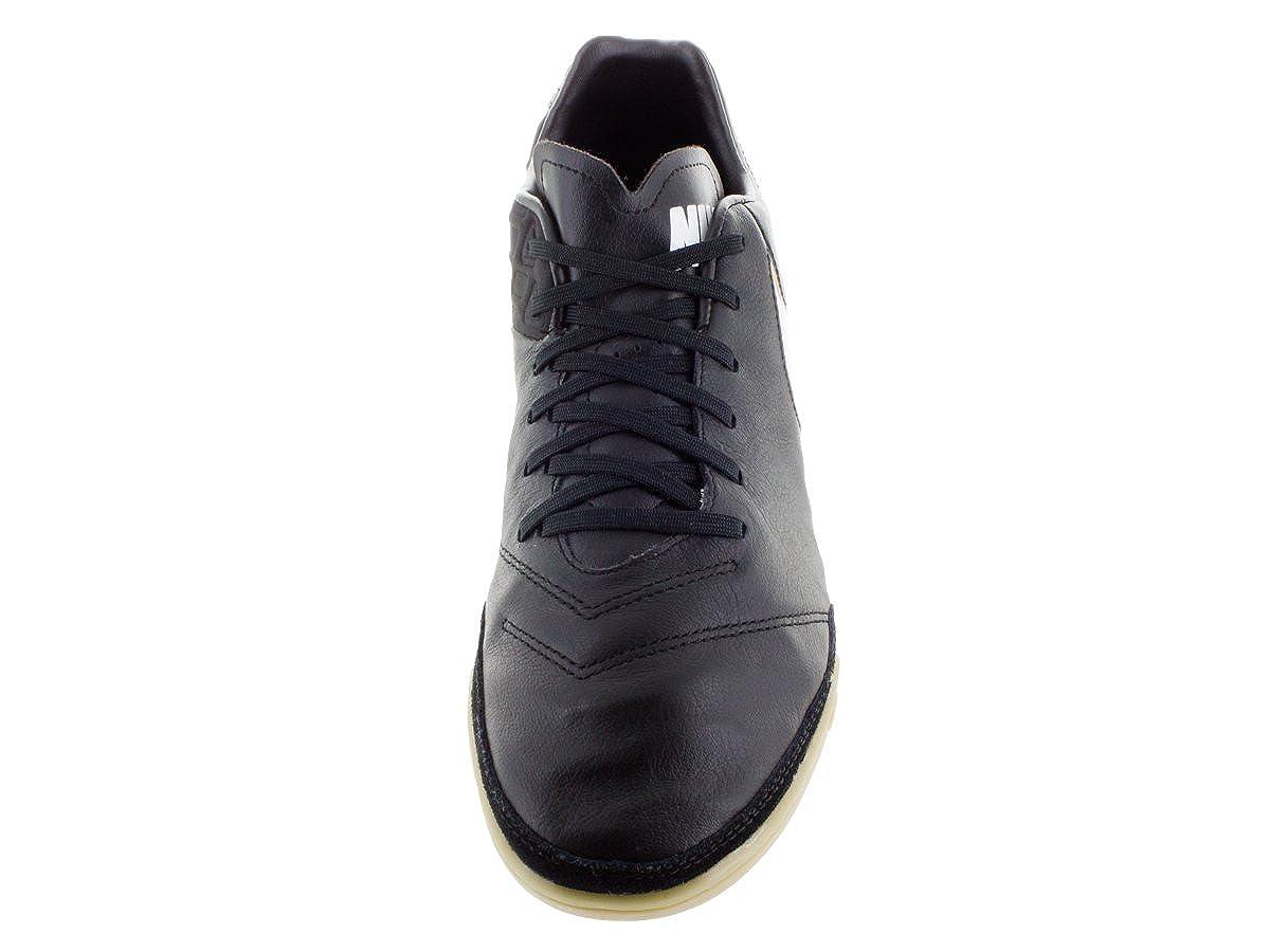 NIKE Mens Tiempo Mystic V IC Black//White//Metallic Gold Indoor Soccer Shoe 8 Men US