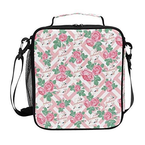 Insulated Lunch Bag Indiana Flower Lunch Box Cooler Bag with Shoulder Strap for School Picnic - Indiana Classic Pique
