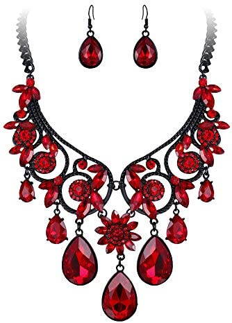 BriLove Crystal Statement Necklace Earrings product image