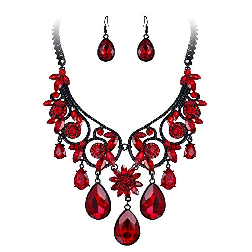 BriLove Women's Tribal Ethnic Crystal Chunky Statement Necklace Dangle Earrings Set Ruby Color Black-Silver-Tone