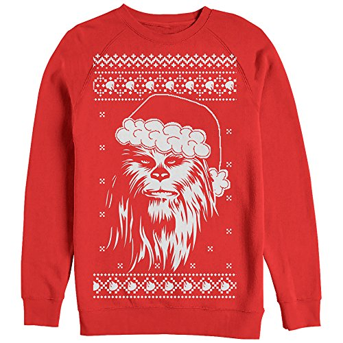 Star Wars Men's Ugly Christmas Sweater Chewbacca Santa Red Sweatshirt]()