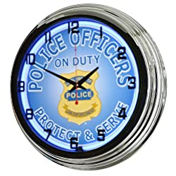 17 Blue Neon Wall Clock, Police Officers on Duty Protect & Serve