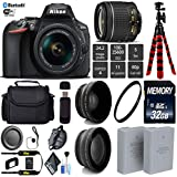 Nikon D5600 DSLR Wi-FI NFC 24.2MP DX CMOS Camera AF-P 18-55mm VR Lens + LED Light kit + Wide Angle & Telephoto Lens + 12 inch Flexible Tripod + Camera Case - International Version