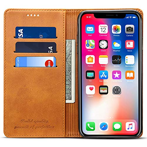 Wallet Case Compatible iPhone Xs Max/iPhone 10s Max, Wallet Case Premium PU Leather Flip Cover Folio Case [Kickstand Feature] with ID & Credit Card Pockets 6.5 inch Khaki ()