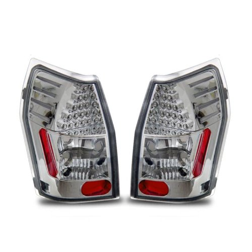 SPPC L.E.D Taillights Chrome Assembly Set for Dodge Magnum - (Pair) Driver Left and Passenger Right Side Replacement - Dodge Magnum Aftermarket Accessories
