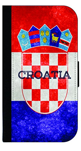 Croatian Grunge Flag - Wallet Style Flip Phone Case Compatible with s3/s4/s5/s6/s6edge/s7/s7edge/s8/s8Plus - Select Your Compatible Phone Model ()