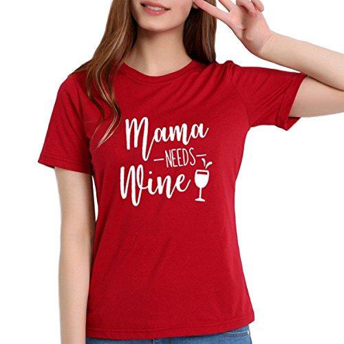 Mama Lettre Mama a Besoin de vin imprim  Manches Courtes T-Shirt pour Les Femmes Tops Red