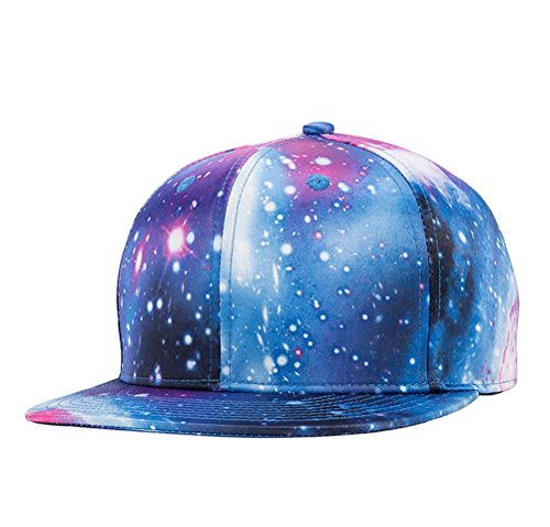 Quanhaigou Galaxy Snapback Unisex Hat Hip Hop Plaid Flat Brim Adjustable Baseball Cap Blue ()