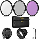 67MM Vivitar UV CPL FLD Filter Kit and Accessory Bundle for Lenses with a 67mm Filter Size