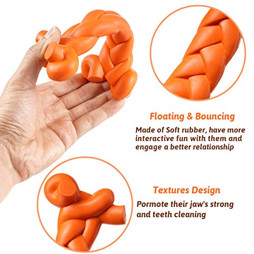 MewaJump Dog Toys for Aggressive Chewers Small Breed, Durable Rubber Dog Toys, Soft Dog Chew Toys for Small/Medium Dogs,Tough Dog Bone Toys for Puppy Teething, Interactive and Training