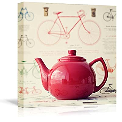 Canvas Prints Wall Art - Vintage Red Teapot with Bicycle Background - 16