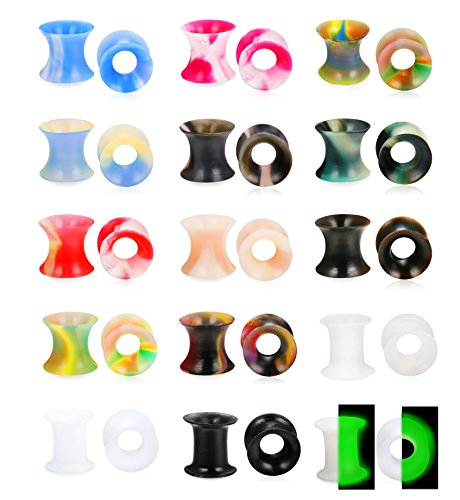 Tunnel Gauge Flesh Ear (LOYALLOOK 30Pcs Soft Silicone Ear Gauges Flesh Tunnels Plugs Stretchers Expander Ear Piercing Jewelry Mixed Color Set Flexible Thin Ear Plugs 10mm)