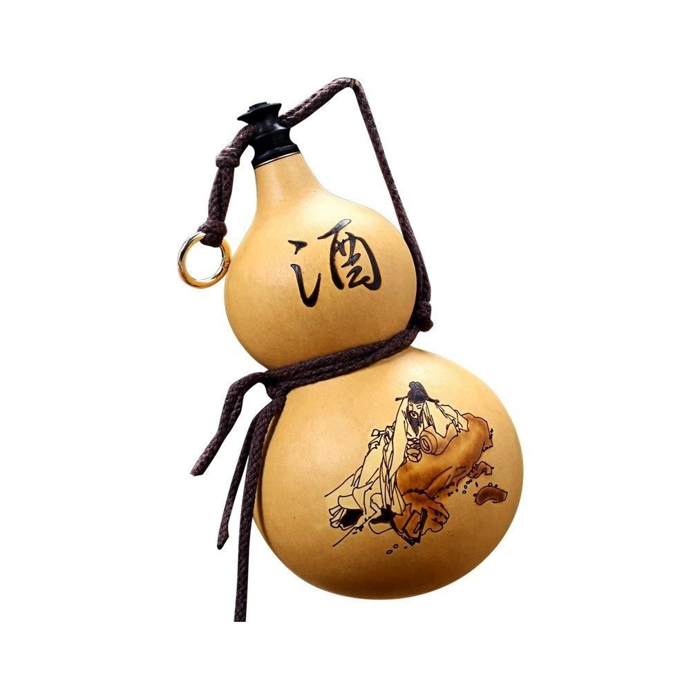 TONGBOSHI Hip Flask, Gourd Jug, Natural Wine Gourd Pendant Outdoor Portable Kettle, Water Loaded Wine Medicine Really Gourd, Hip Flask Wooden Plug Bee Wax Anti-seepage, Yellow, Large, Medium And Small by TONGBOSHI