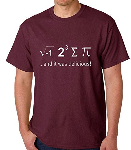 Raw T-Shirt's I Ate Some Pie and It Was Delicious - Funny Nerdy Math Men's T-Shirt (X-Large, Maroon)