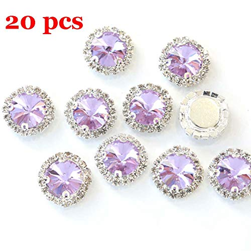 Flat Back Rhinestones Buttons Embellishments with Diamond, Sew On Crystals Glass Rhinestone for Clothing Wedding Bouquet(20pcs) Light - Purple Light Rhinestone