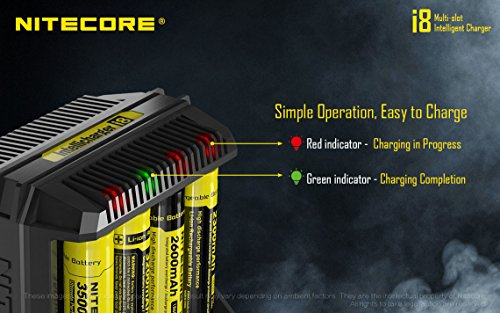 NITECORE i8 Eight Bays Smart Battery Charger for Li-ion/IMR/Ni-MH/Ni-Cd 26650 22650 18650 18490 18350 16340 RCR123 14500 AA AAA AAAA C D USB with EdisonBright BBX3 Battery Carry case by EdisonBright (Image #6)