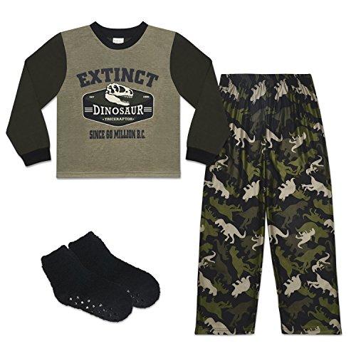 Fleece Print Pajama Set - Mad Dog Boy's 3-Piece Pajama Set – Camo and Sports Prints (Dinosaur, X-Small (4-5))