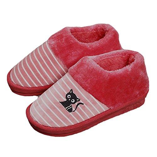 Red JadeRich Stripes Slippers Boot Print Cat Plush Pattern Unisex Winter fzfZqR